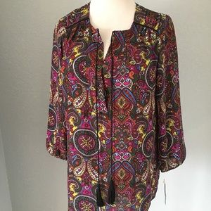 NWT New Directions Multicolor Blouse Size Small